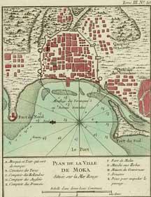 Plano de la ciudad de Mocha por Jean-Nicolas Bellin, 1764