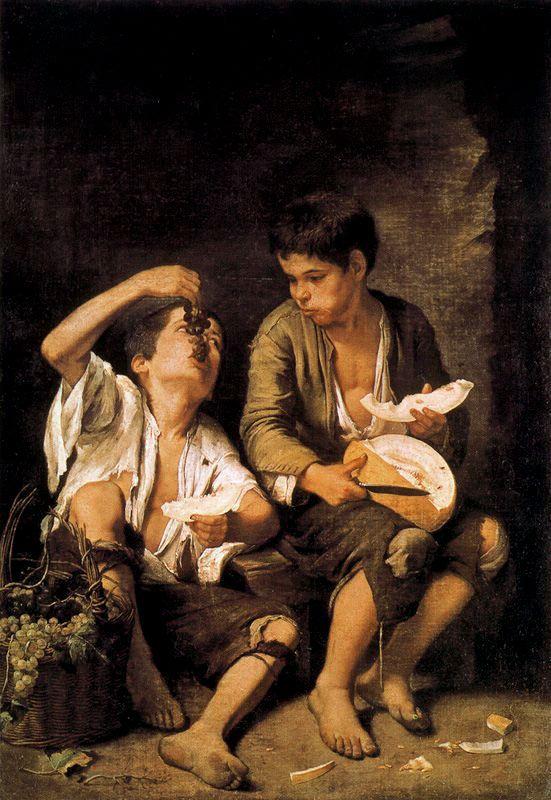 Niños comiendo uvas y melón de Bartolomé Esteban Murillo, 1650